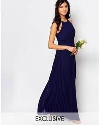 Темно-синее платье-макси со складками от TFNC