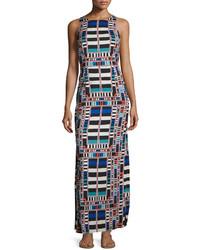 Темно-синее платье-макси с геометрическим рисунком