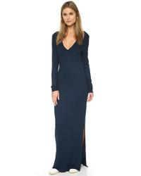 Женское темно-синее платье-макси с разрезом от Feel The Piece