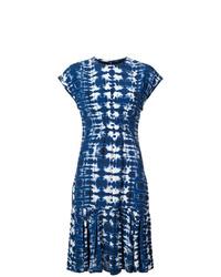 Темно-синее платье-миди с принтом тай-дай