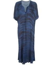 Темно-синее платье-миди с принтом