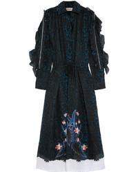 Женское темно-синее платье-миди с принтом от Preen by Thornton Bregazzi