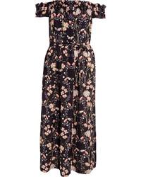 Темно-синее платье-миди с цветочным принтом