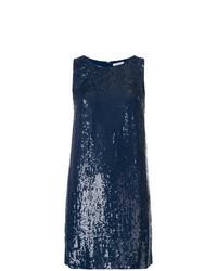 Темно-синее платье прямого кроя с пайетками
