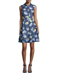 Темно-синее платье-рубашка с цветочным принтом