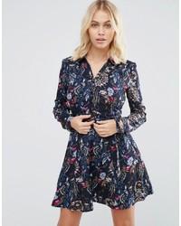 Женское темно-синее платье-рубашка с цветочным принтом от Yumi