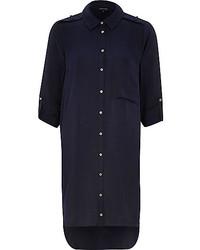 Темно-синее платье-рубашка