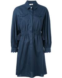 Темно-синее платье-рубашка от Fendi