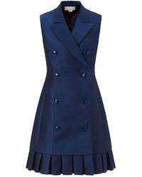 Темно-синее платье-смокинг