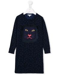 Детское темно-синее платье с леопардовым принтом для девочек от Little Marc Jacobs