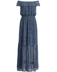 Темно-синее платье с открытыми плечами с цветочным принтом