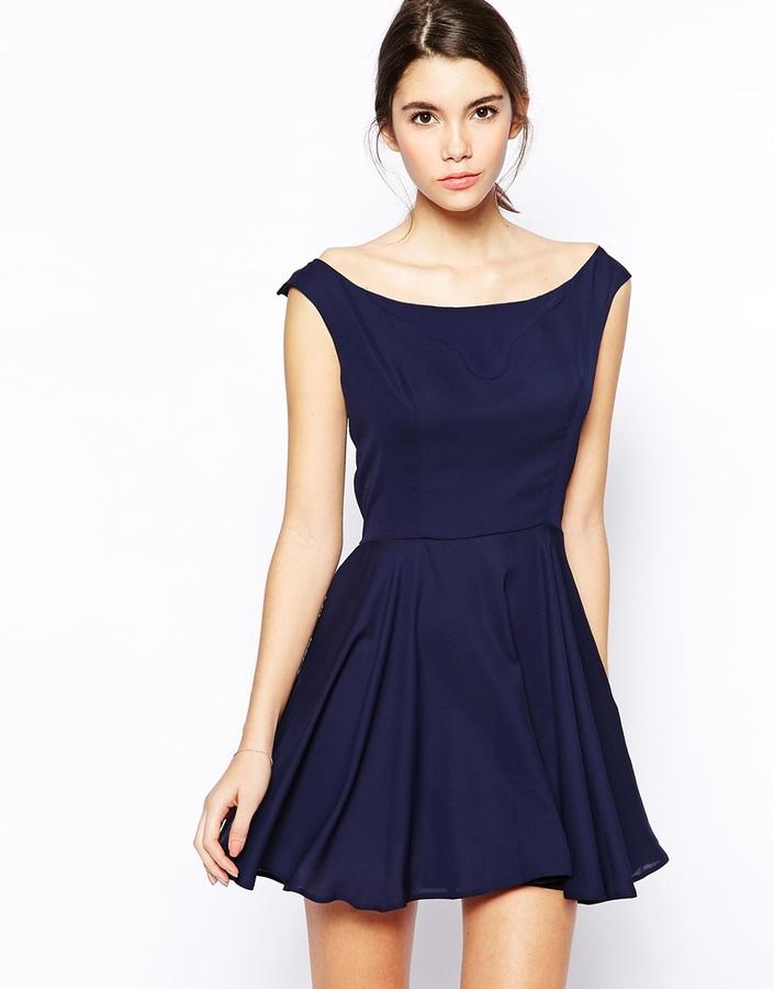 Темно синее платье короткое купить