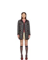 Женское темно-синее твидовое пальто с вышивкой от Gucci
