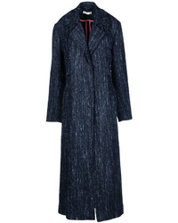 Темно-синее твидовое пальто