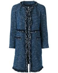 Женское темно-синее твидовое пальто от Theory