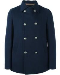 Мужское темно-синее шерстяное пальто от Eleventy