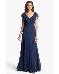 5edc88f97f1 Купить темно-синее шифоновое вечернее платье - модные модели вечерних  платьев