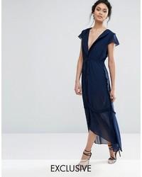Темно-синее шифоновое платье-миди