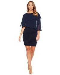 Темно-синее шифоновое платье-футляр