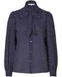 Темно-сине-белая блуза на пуговицах в горошек