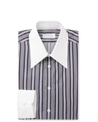 Темно-сине-белая классическая рубашка в вертикальную полоску