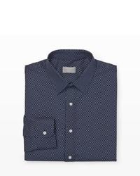 Темно-сине-белая классическая рубашка в горошек