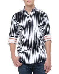Темно-сине-белая рубашка с длинным рукавом в вертикальную полоску