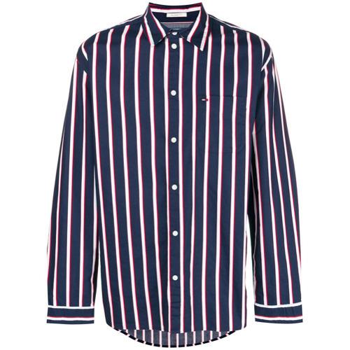 aed39b8df76 ... Мужская темно-сине-белая рубашка с длинным рукавом в вертикальную  полоску от Tommy Jeans ...