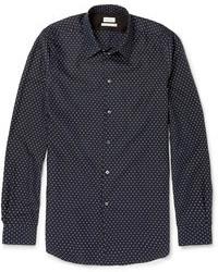 Темно-сине-белая рубашка с длинным рукавом в горошек