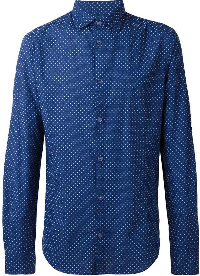 ... Мужская темно-сине-белая рубашка с длинным рукавом в горошек от Armani  Jeans ceed5acd9a4
