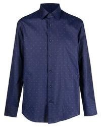 Мужская темно-сине-белая рубашка с длинным рукавом в горошек от BOSS HUGO BOSS