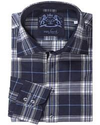Темно-сине-белая рубашка с длинным рукавом в шотландскую клетку