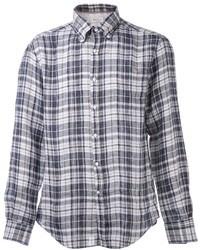 Мужская темно-сине-белая рубашка с длинным рукавом в шотландскую клетку от Brunello Cucinelli