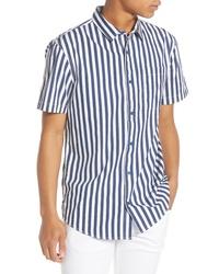Темно-сине-белая рубашка с коротким рукавом в вертикальную полоску