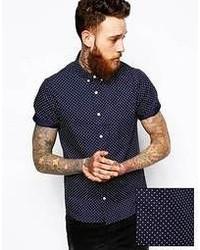 Темно-сине-белая рубашка с коротким рукавом в горошек