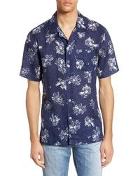 Темно-сине-белая рубашка с коротким рукавом с цветочным принтом