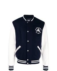 Темно-сине-белая университетская куртка