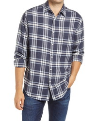 Темно-сине-белая фланелевая рубашка с длинным рукавом в шотландскую клетку