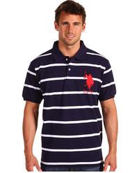 Темно-сине-белая футболка-поло в горизонтальную полоску