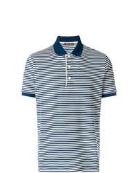 Мужская темно-сине-белая футболка-поло в горизонтальную полоску от Loro Piana