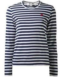 Темно-сине-белая футболка с длинным рукавом в горизонтальную полоску