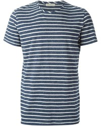 Темно-сине-белая футболка с круглым вырезом в горизонтальную полоску