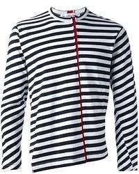 Мужская темно-сине-белая футболка с круглым вырезом в горизонтальную полоску от Comme des Garcons
