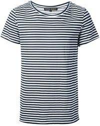 Мужская темно-сине-белая футболка с круглым вырезом в горизонтальную полоску от Gaspard Yurkievich