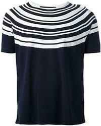 Мужская темно-сине-белая футболка с круглым вырезом в горизонтальную полоску от Neil Barrett