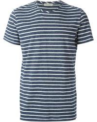 Мужская темно-сине-белая футболка с круглым вырезом в горизонтальную полоску от Oliver Spencer