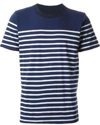 Мужская темно-сине-белая футболка с круглым вырезом в горизонтальную полоску от Sacai