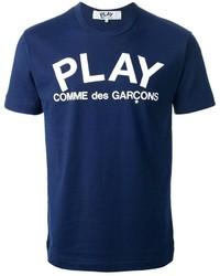 Темно-сине-белая футболка с круглым вырезом с принтом
