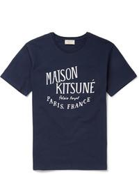 Мужская темно-сине-белая футболка с круглым вырезом с принтом от MAISON KITSUNÉ