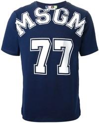 Мужская темно-сине-белая футболка с круглым вырезом с принтом от MSGM